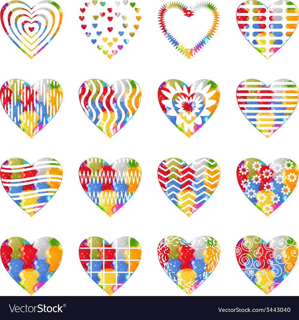 Valentine heart with patterns set vector | Price: 1 Credit (USD $1)