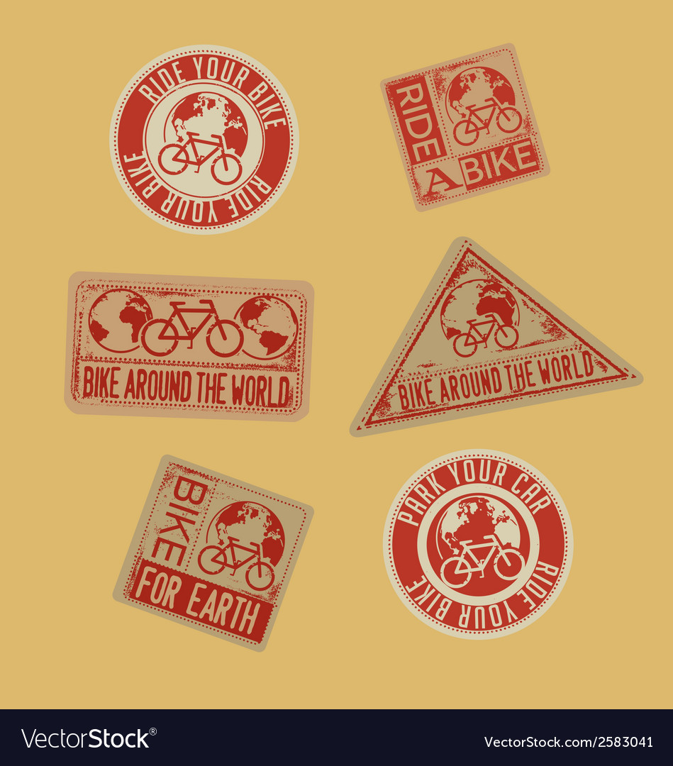 Biking stamps with environmental message vector | Price: 1 Credit (USD $1)