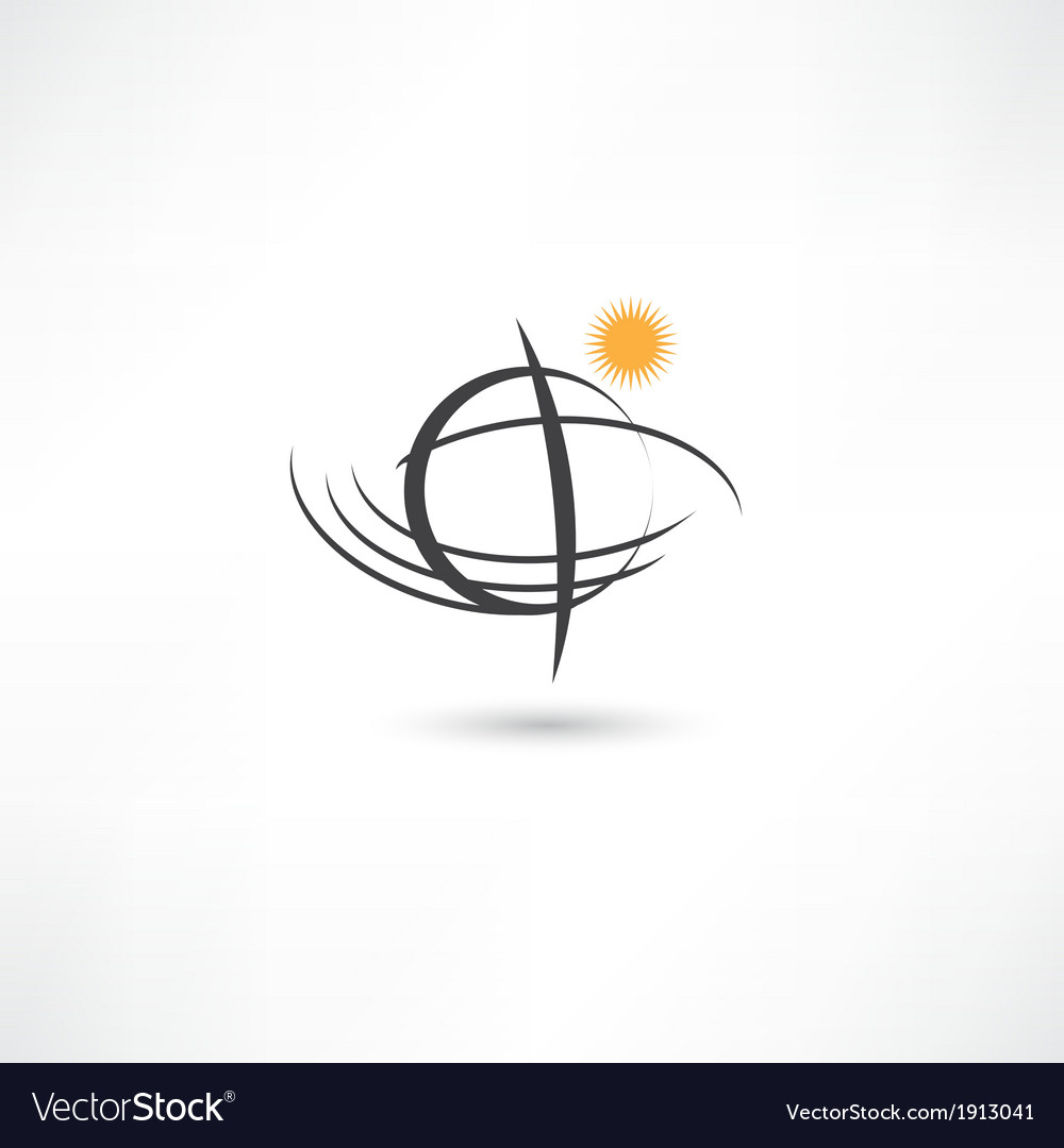 Black line simple planet symbol vector | Price: 1 Credit (USD $1)