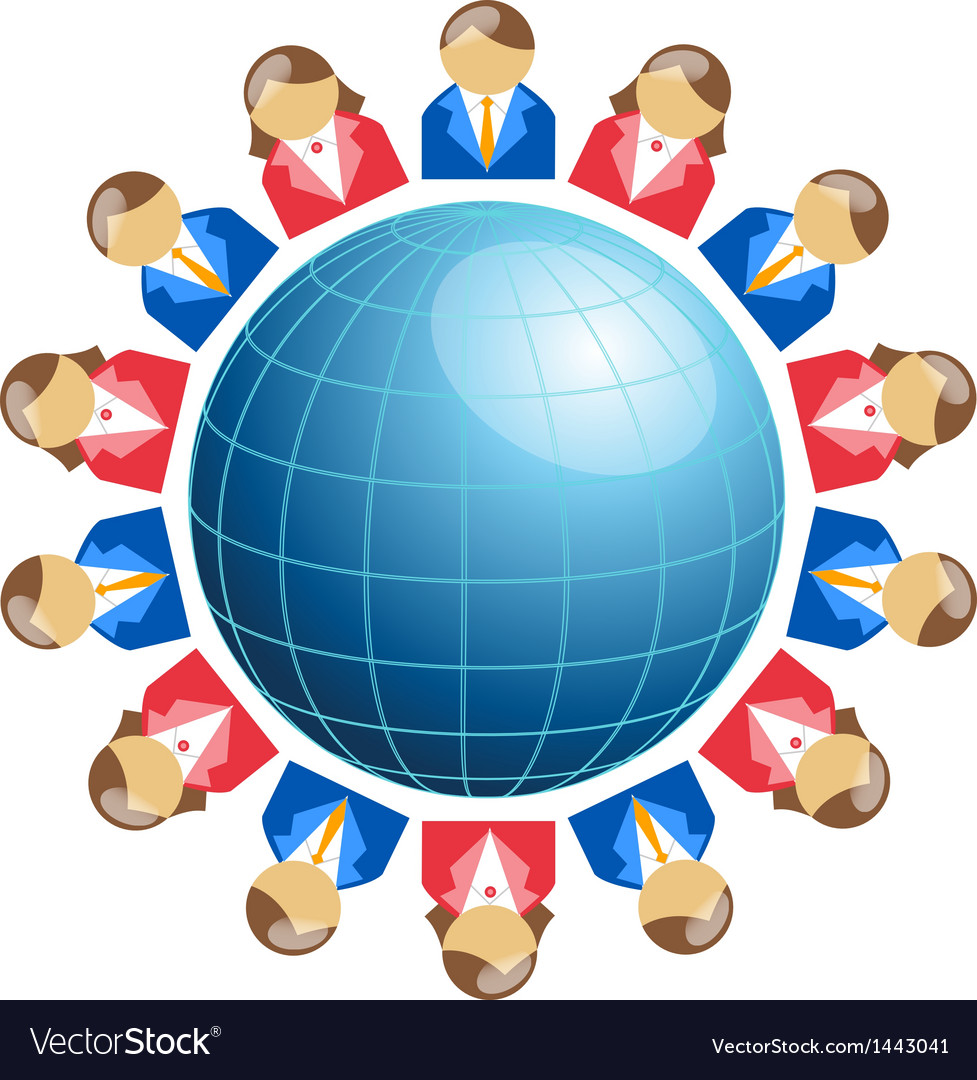 Business men and women around globe vector | Price: 1 Credit (USD $1)