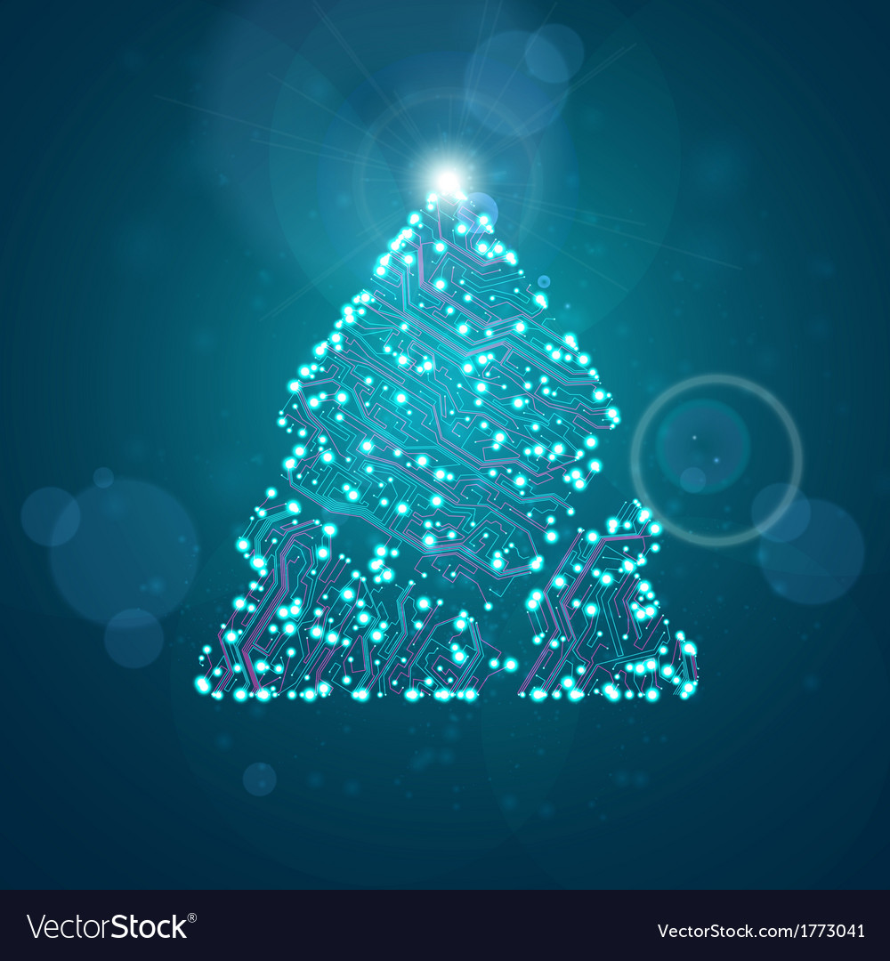 Circuit board background christmas tree vector | Price: 1 Credit (USD $1)