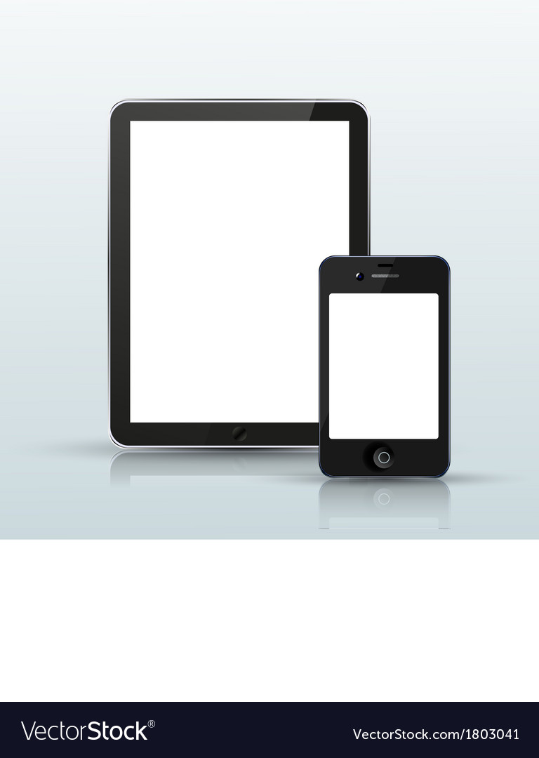 Computer tablet with smartphone vector | Price: 1 Credit (USD $1)