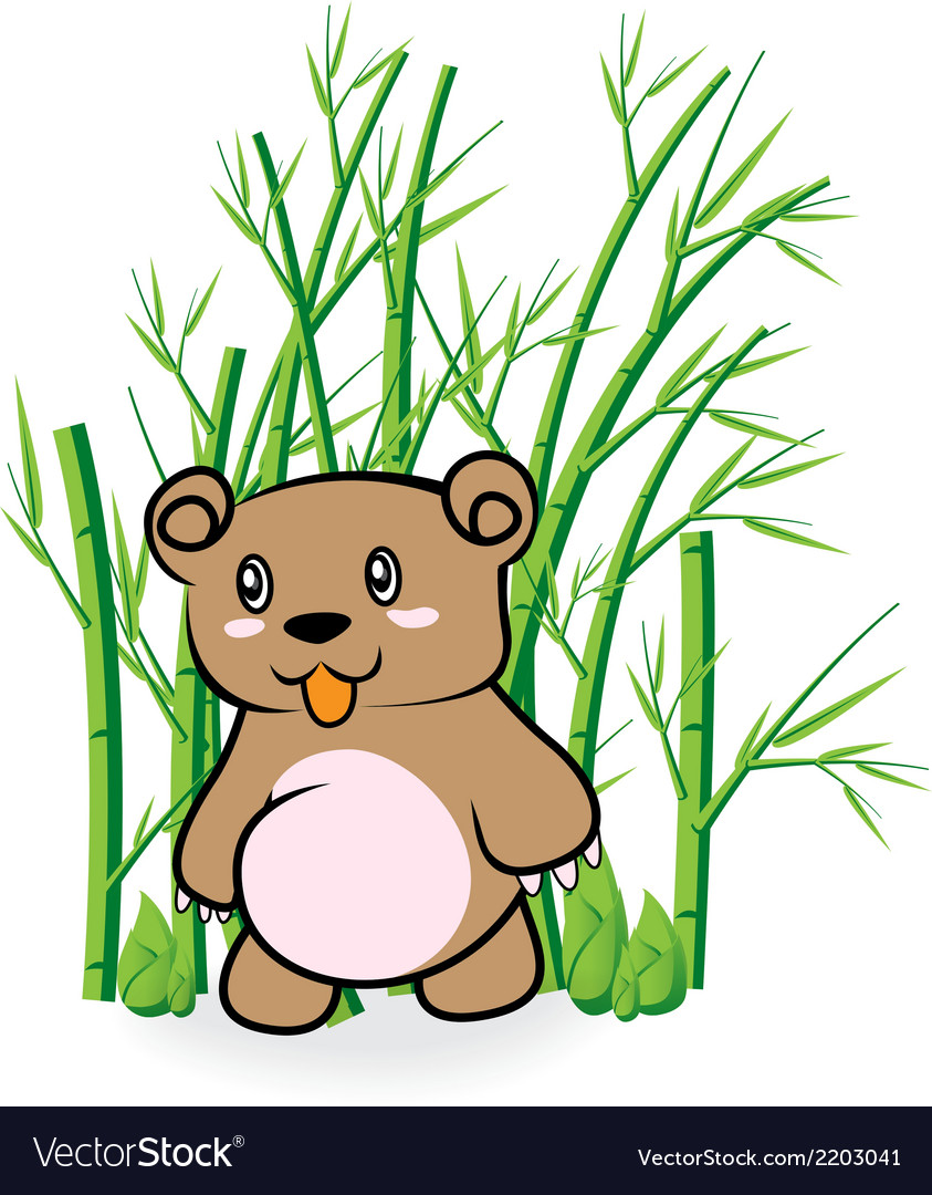 Cute bear in bamboo forrest 01 vector | Price: 1 Credit (USD $1)