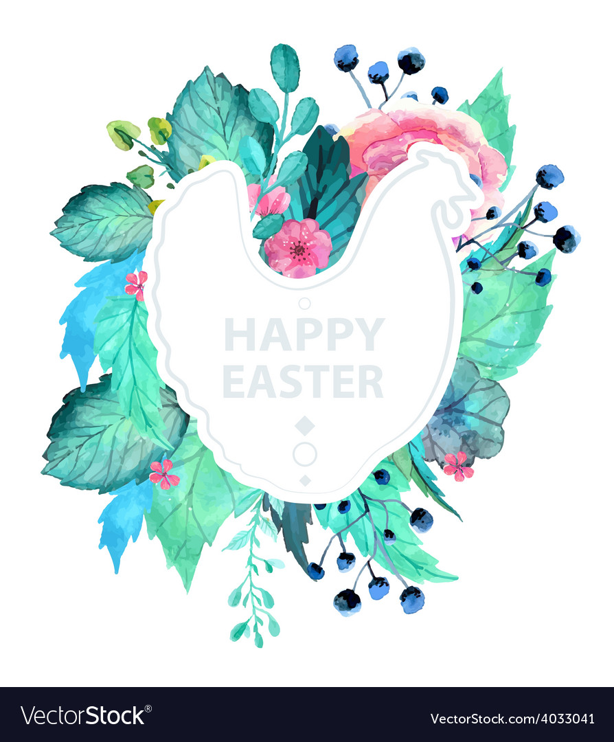 Easter watercolor natural with chicken sticker vector | Price: 1 Credit (USD $1)