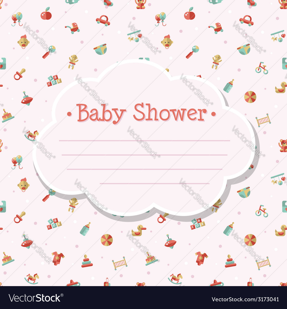 Flat design cute baby shower template vector | Price: 1 Credit (USD $1)