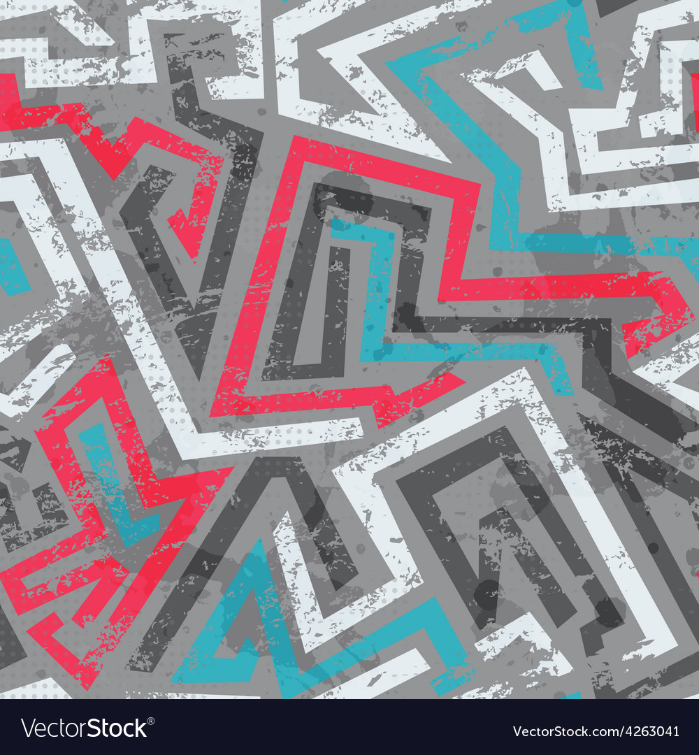 Grunge colored graffiti seamless pattern vector