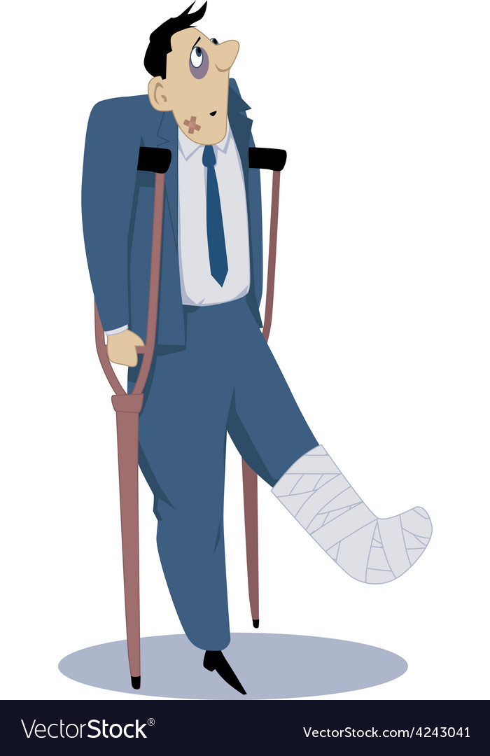 Injured man on crutches vector | Price: 1 Credit (USD $1)