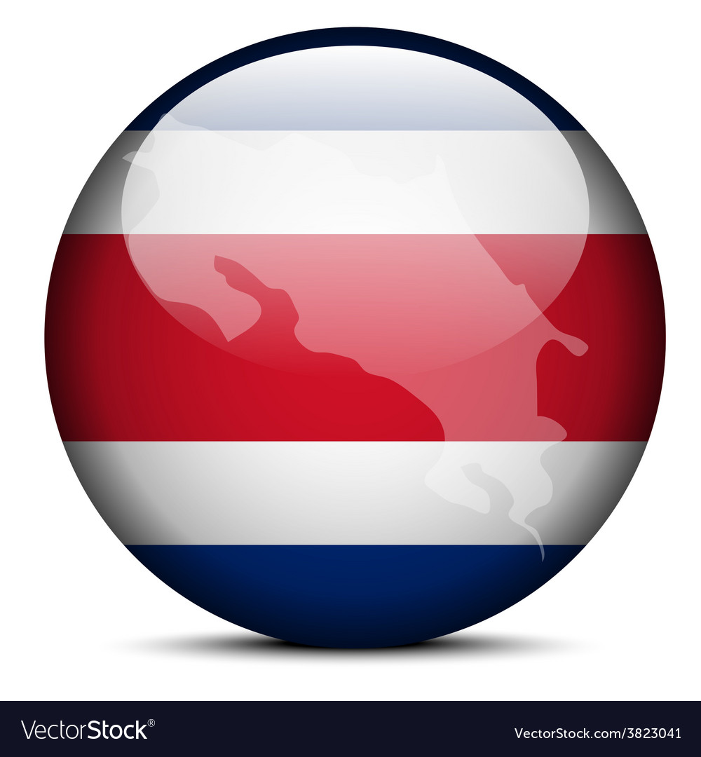 Map on flag button of republic of costa rica vector | Price: 1 Credit (USD $1)