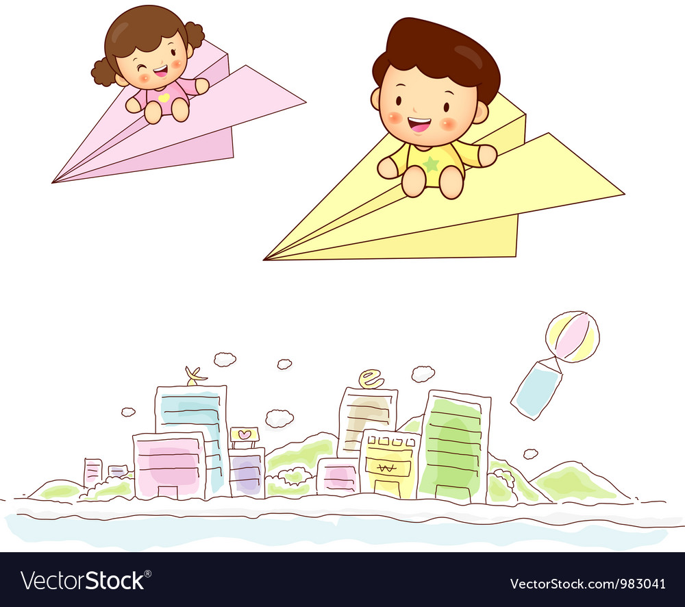 Paper airplane kids travel vector | Price: 3 Credit (USD $3)