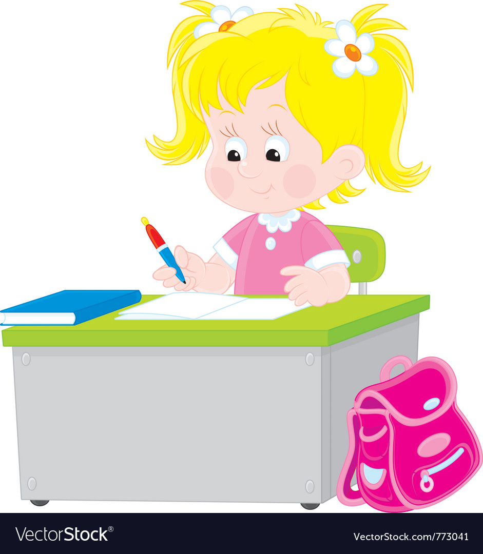 Schoolgirl writing a test in school vector | Price: 3 Credit (USD $3)