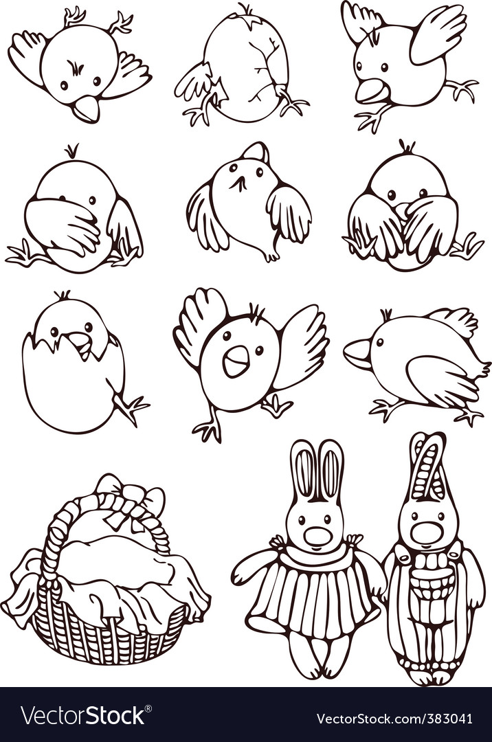 Set of cartoons for easter vector | Price: 1 Credit (USD $1)