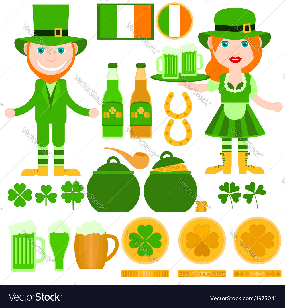 Set of saint patricks day related elements vector | Price: 1 Credit (USD $1)