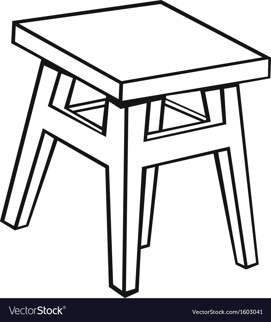 Silhouette old wooden stool vector | Price: 1 Credit (USD $1)
