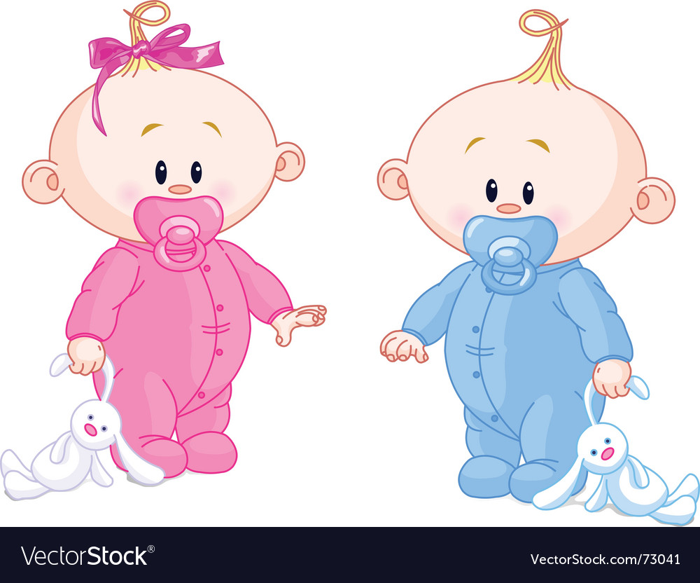 Twin babies vector | Price: 3 Credit (USD $3)