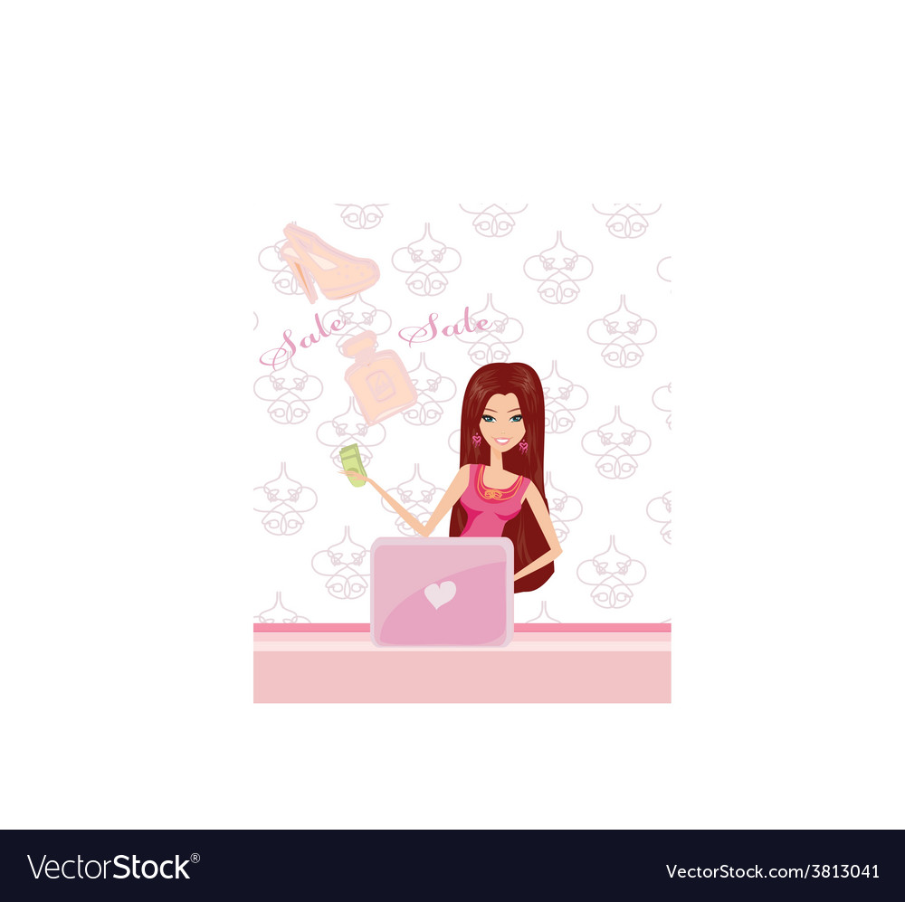 Women purchasing product online using her laptop vector | Price: 1 Credit (USD $1)