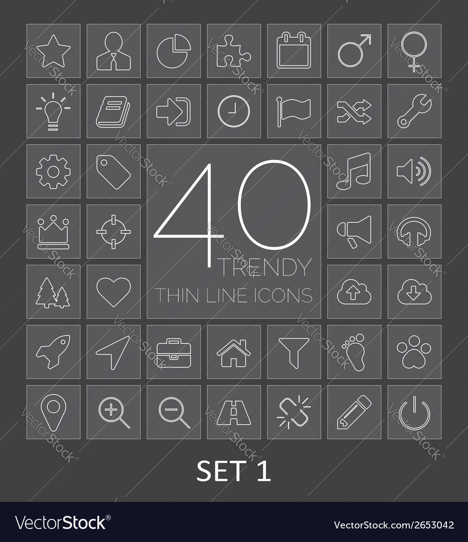 40 trendy thin line icons for web and mobile set 1 vector | Price: 1 Credit (USD $1)