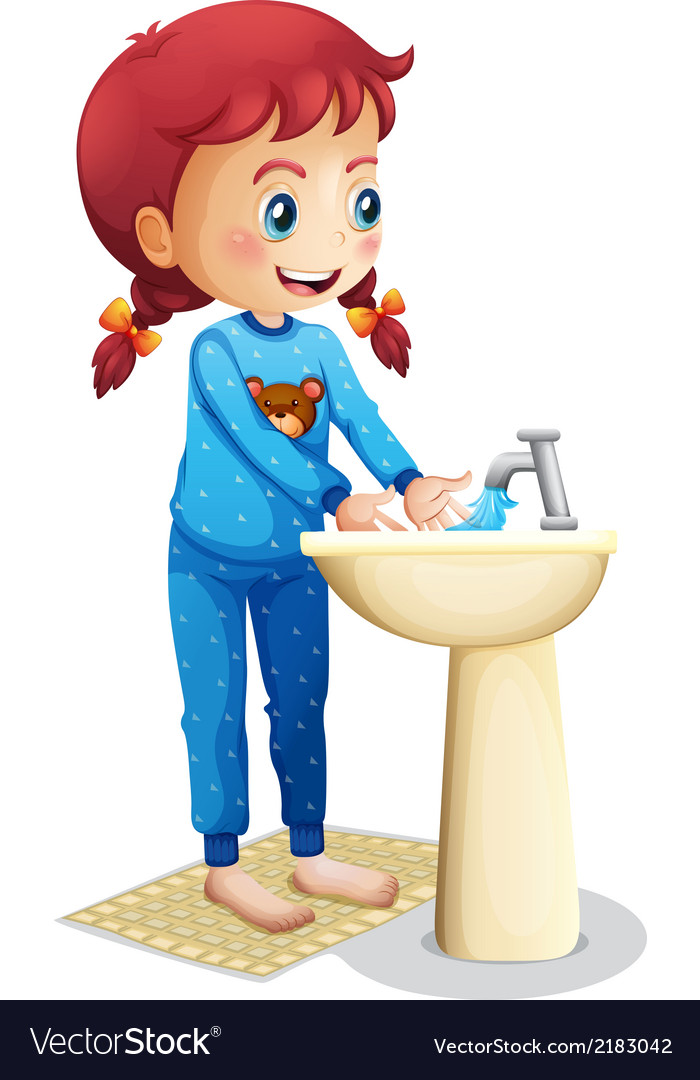 A cute little girl washing her face vector | Price: 1 Credit (USD $1)