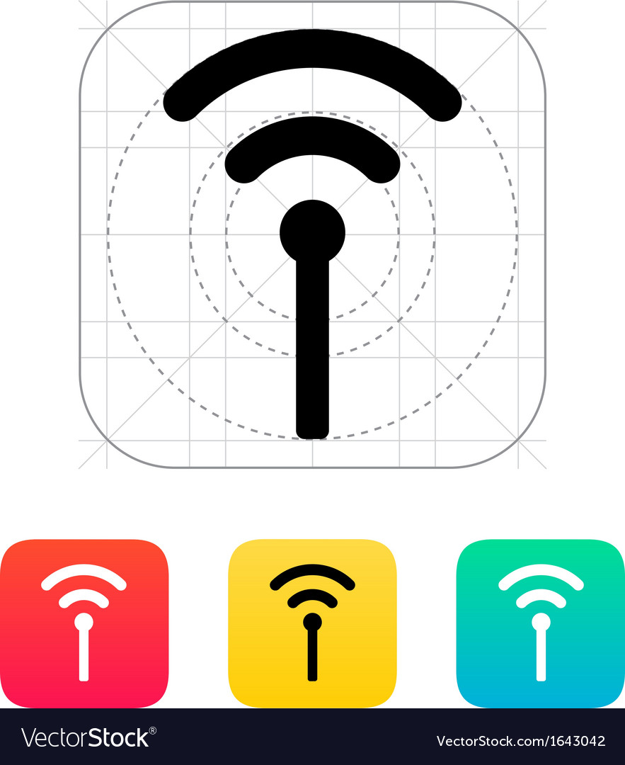 Antenna broadcasting radio signal icon vector | Price: 1 Credit (USD $1)