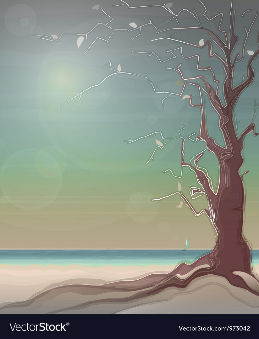Autumn sea landscape with a tree vector | Price: 1 Credit (USD $1)