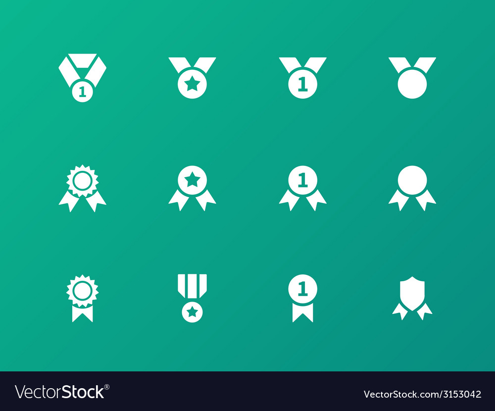 Award medal icons on green background vector | Price: 1 Credit (USD $1)