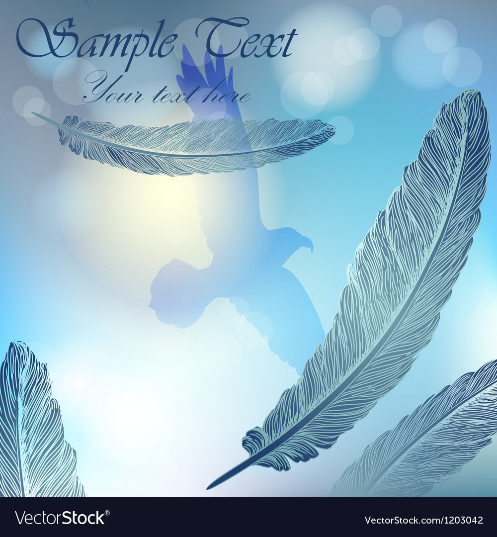 Background with sky flying bird and feathers vector | Price: 1 Credit (USD $1)
