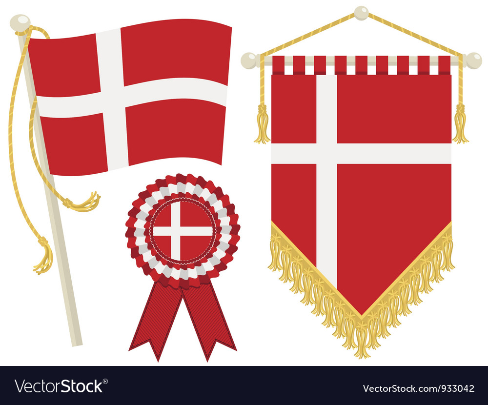 Denmark flags vector | Price: 1 Credit (USD $1)