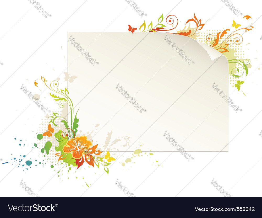 Empty sheet of paper with floral ornament and butt vector | Price: 1 Credit (USD $1)