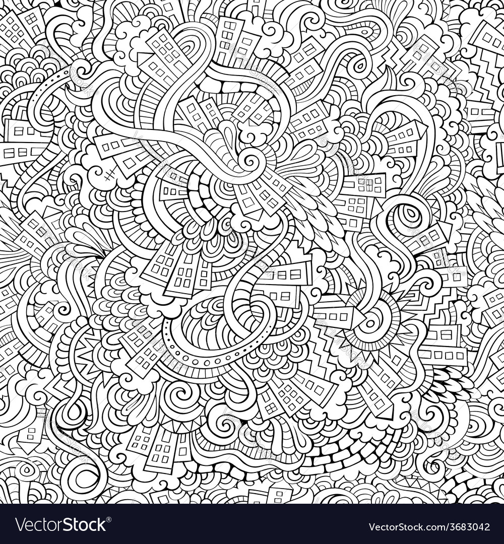 Hand drawn town seamless pattern vector | Price: 1 Credit (USD $1)
