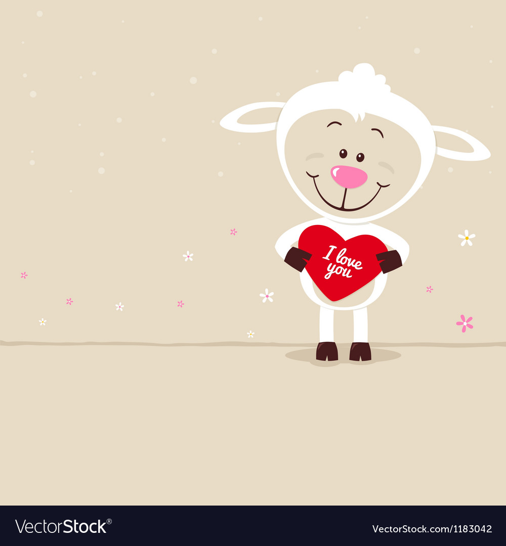 Lovely sheep with red heart vector | Price: 1 Credit (USD $1)