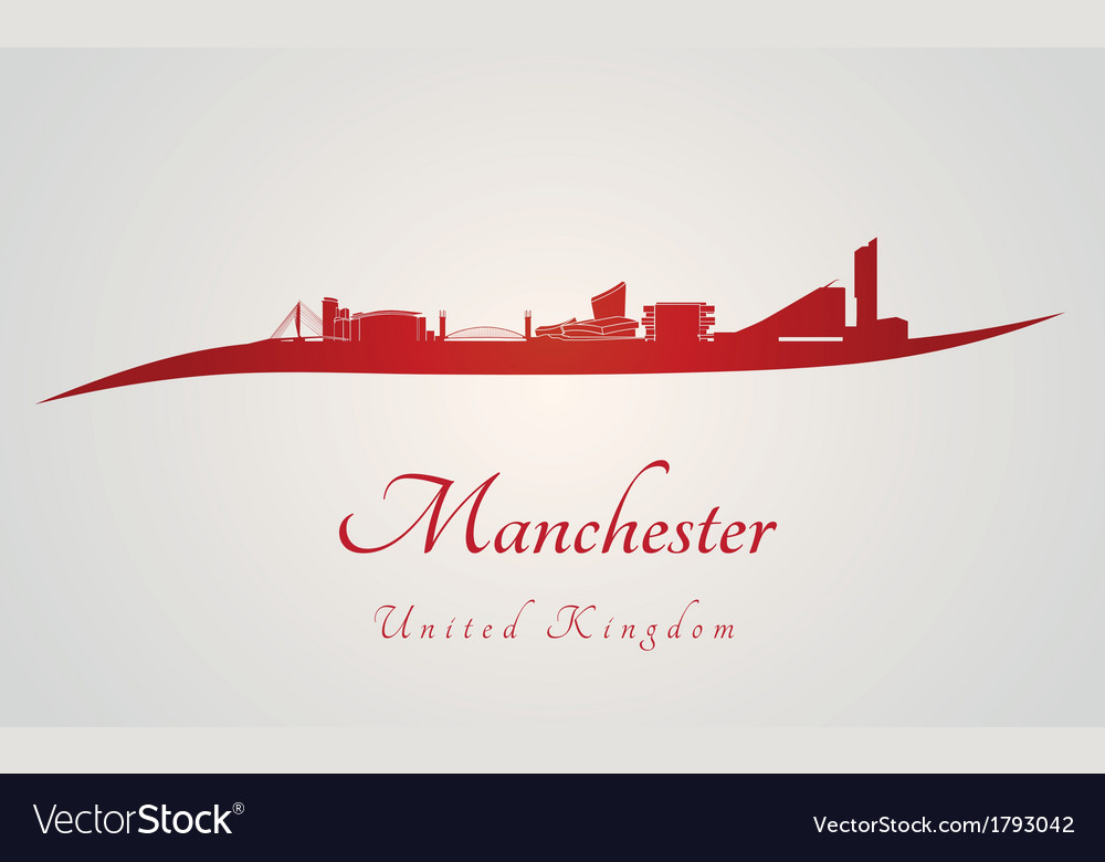 Manchester skyline in red vector | Price: 1 Credit (USD $1)