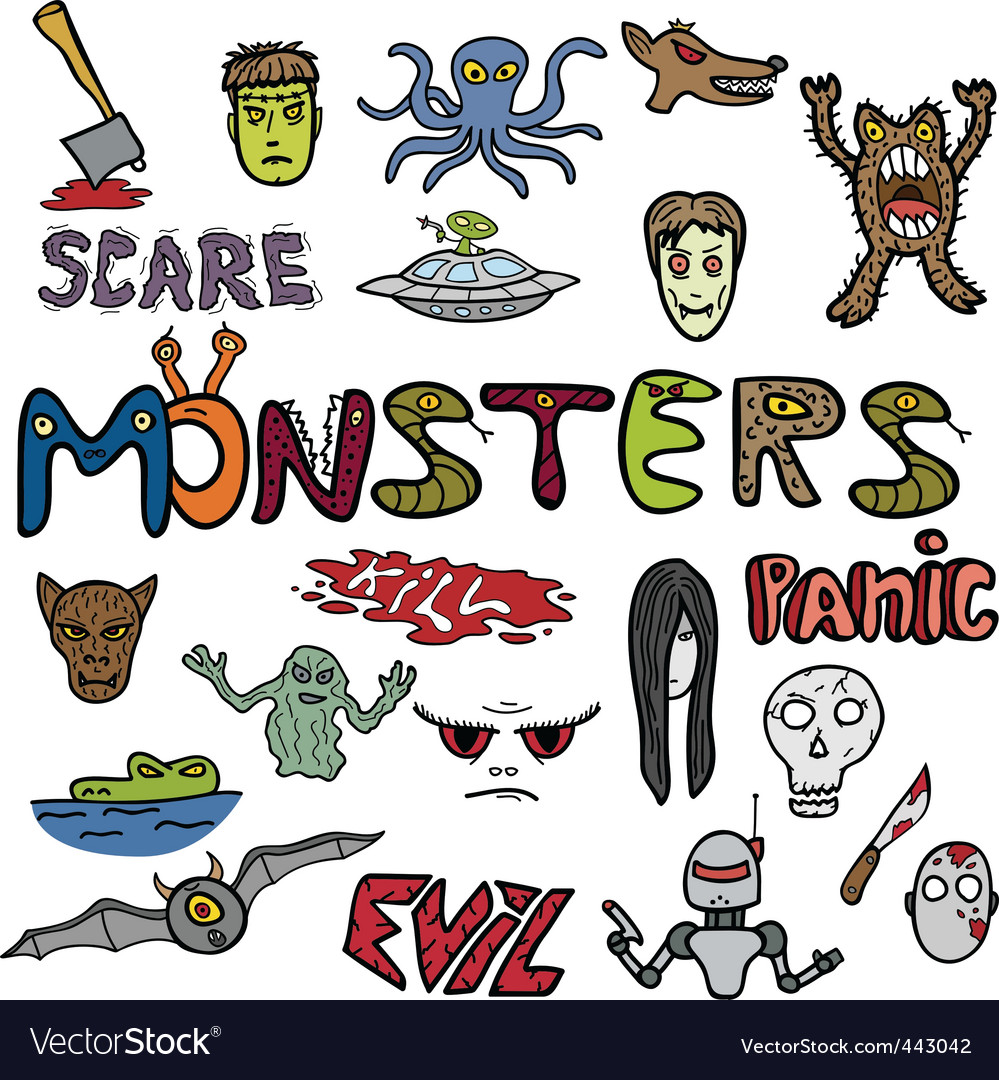 Monster doodles vector | Price: 1 Credit (USD $1)