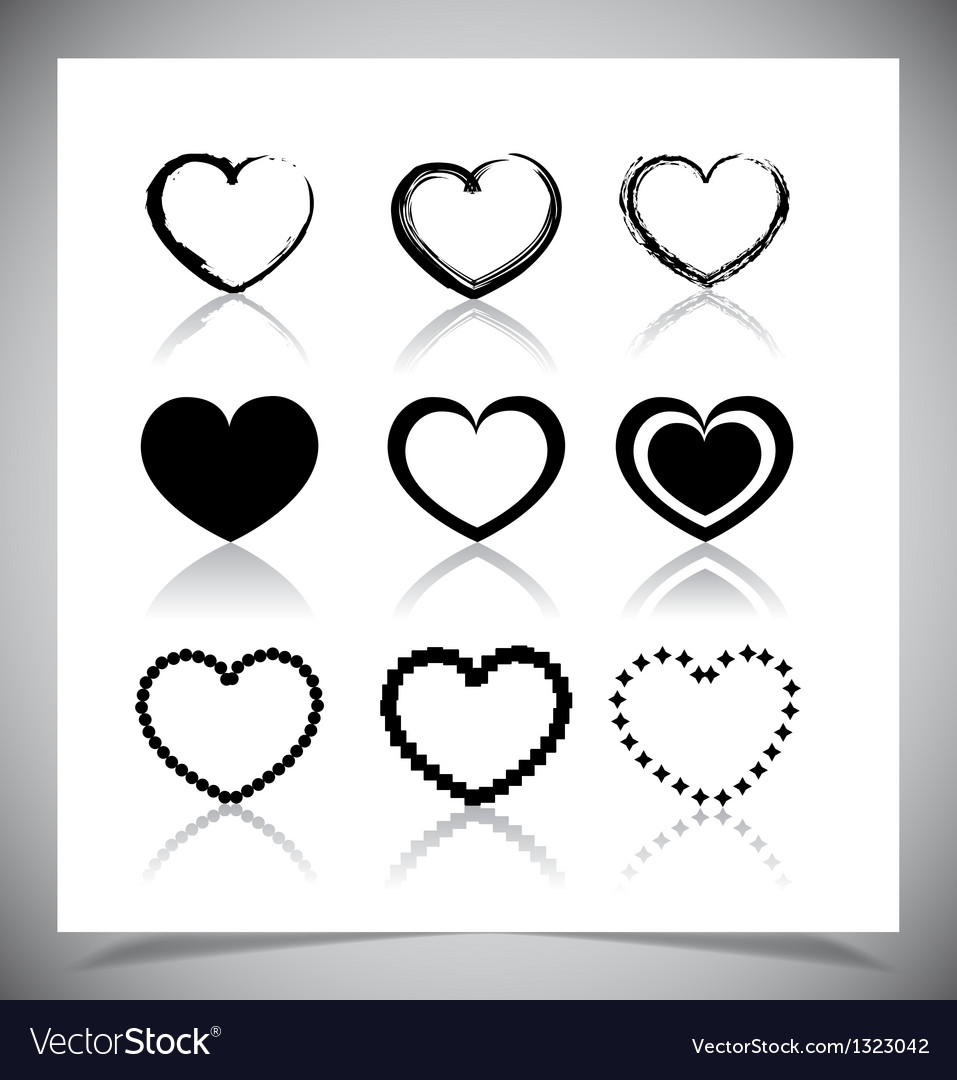 Set of heart icons vector | Price: 1 Credit (USD $1)