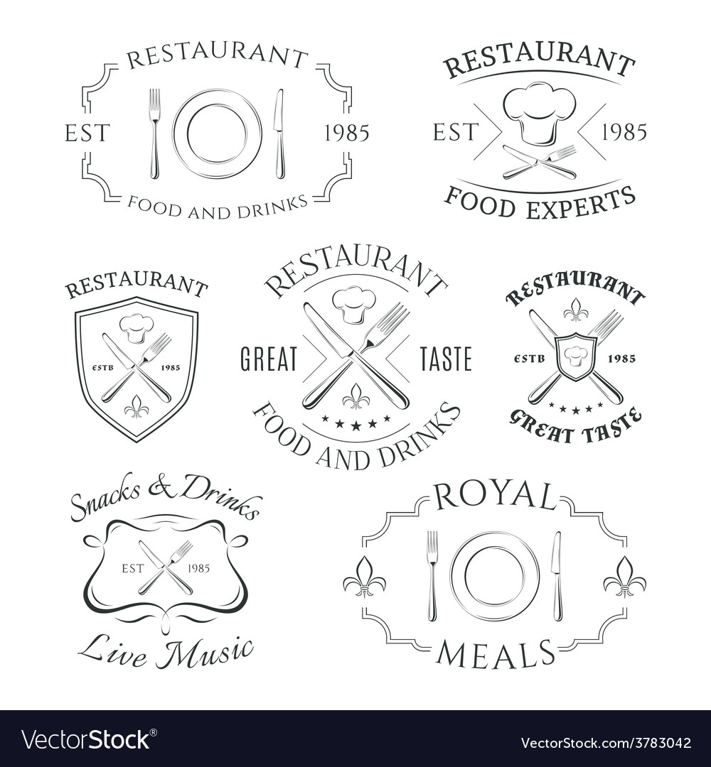 Set of heraldic restaurant logos labels and vector | Price: 1 Credit (USD $1)