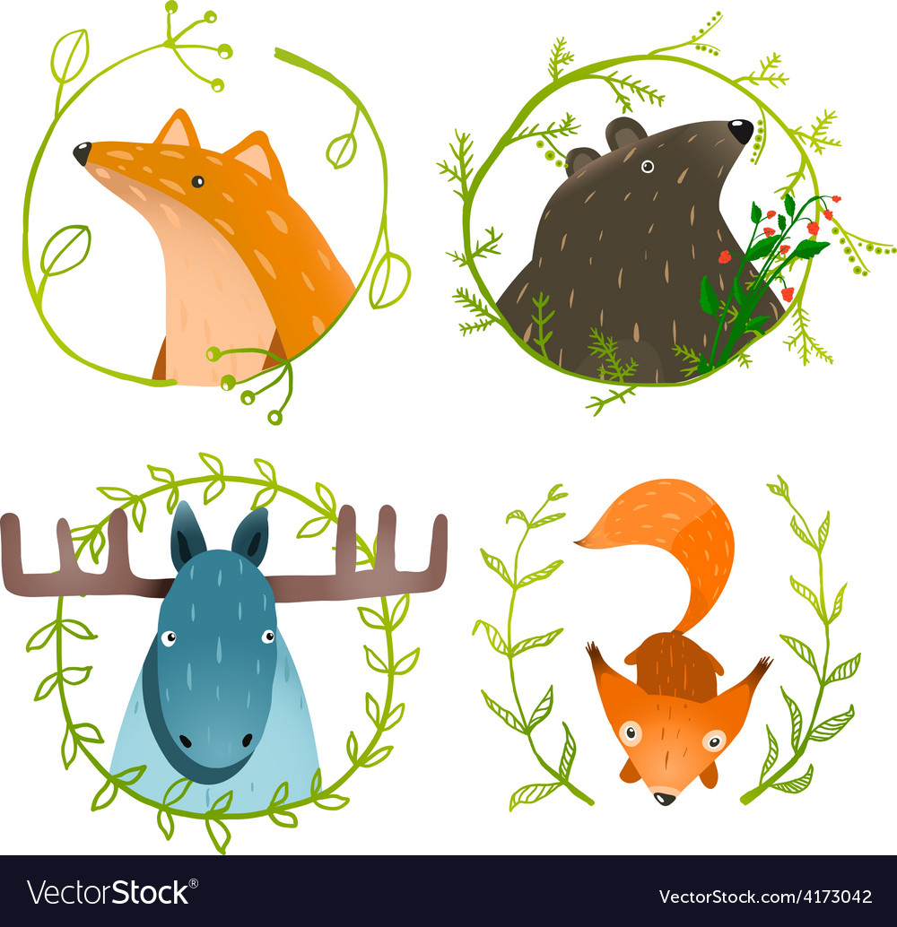 Wild forest animals set vector | Price: 1 Credit (USD $1)