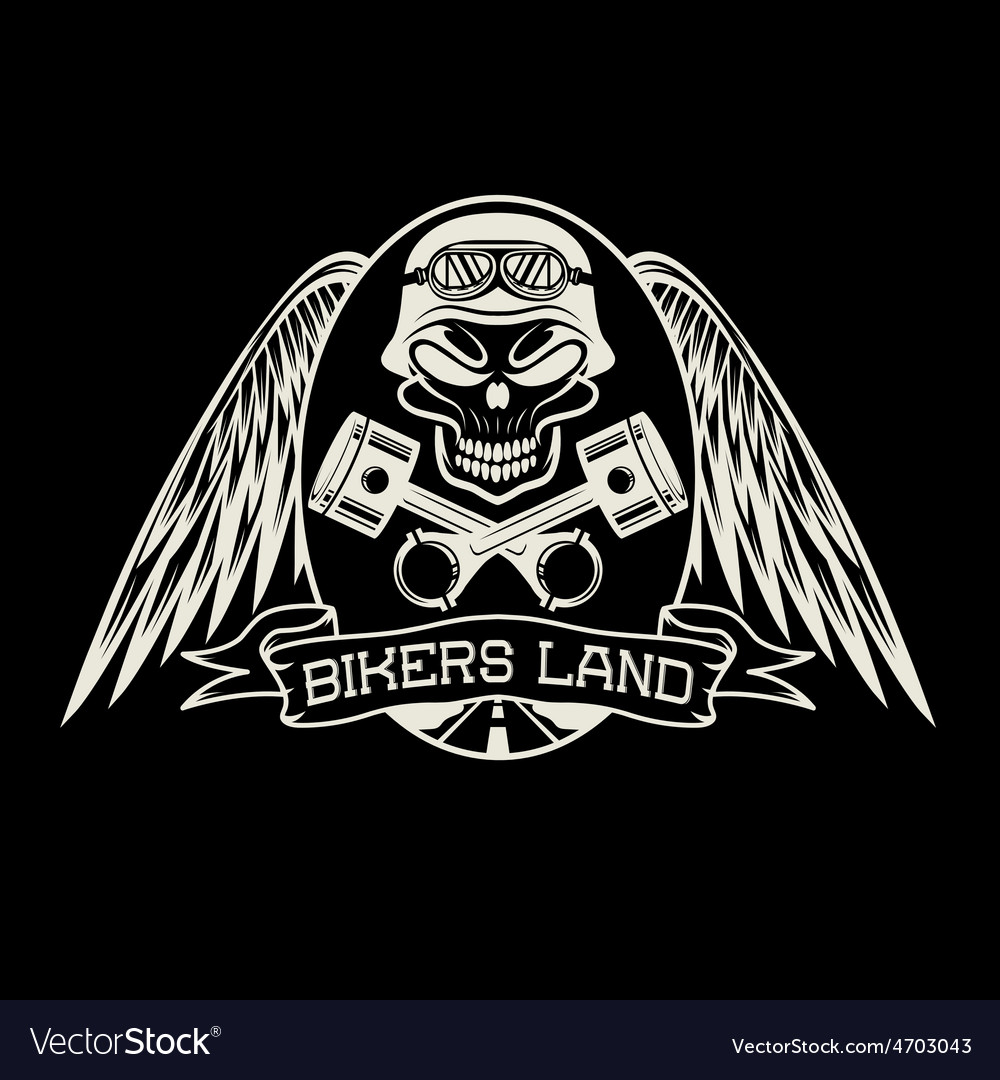 Bikers land crest with skullwings and pistons vector   Price: 1 Credit (USD $1)