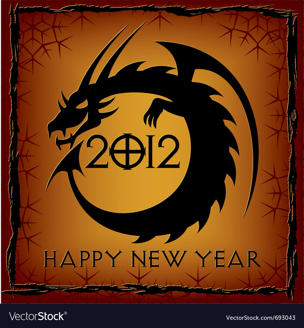 Black dragon 2012 new year card vector | Price: 1 Credit (USD $1)