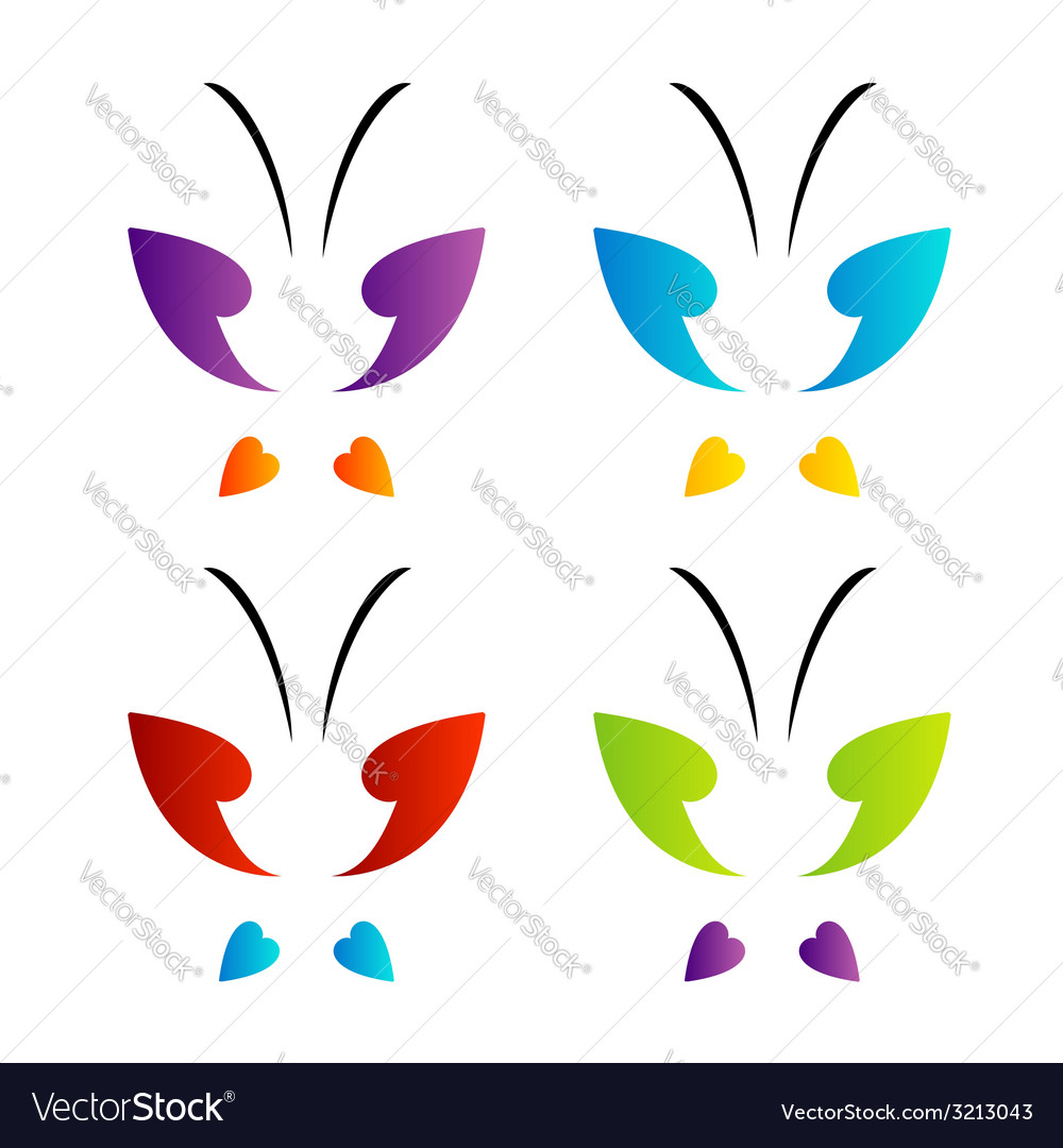 Butterfly logo in rainbow colors vector   Price: 1 Credit (USD $1)
