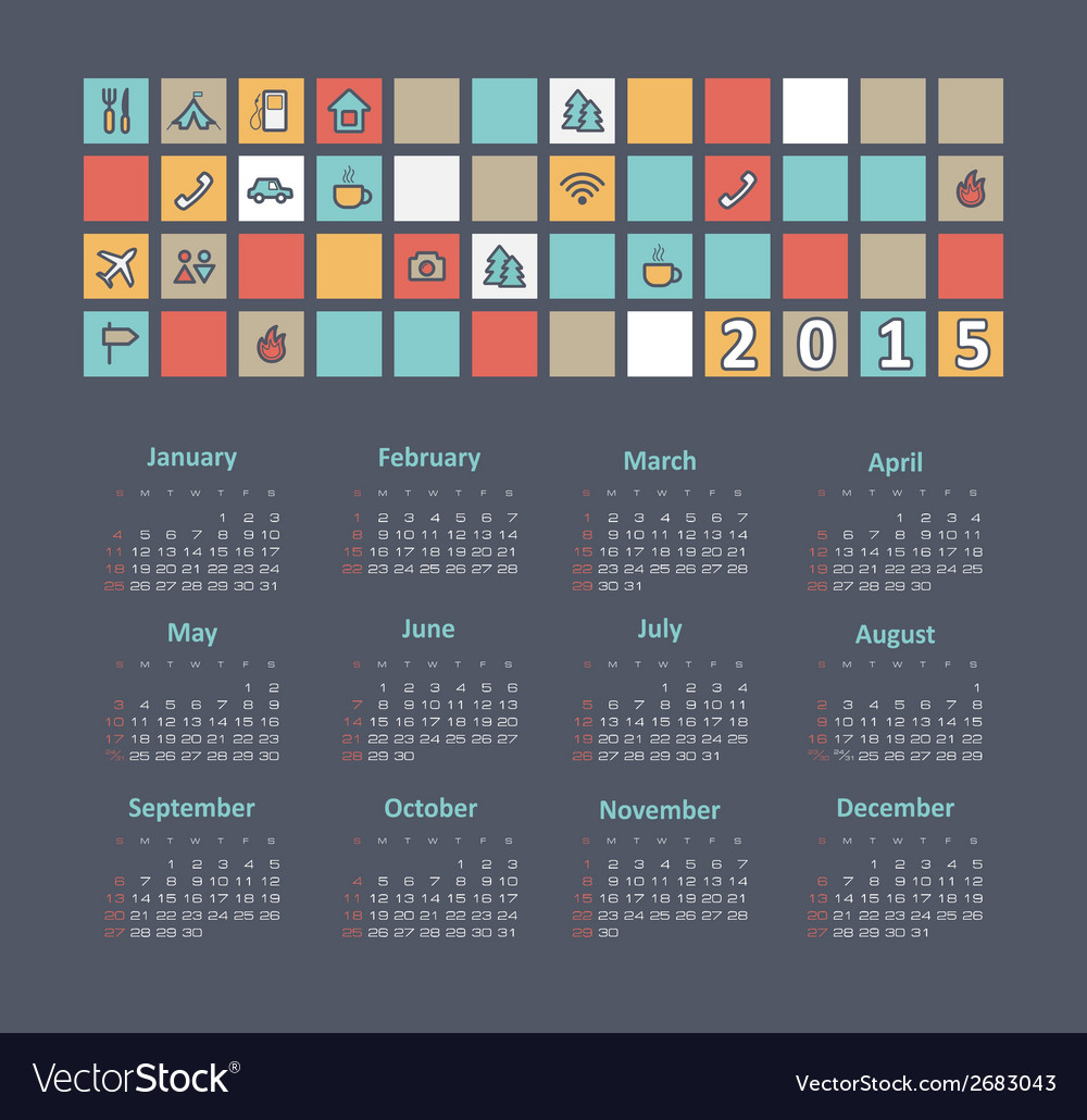 Calendar 2015 year with travel icons vector | Price: 1 Credit (USD $1)