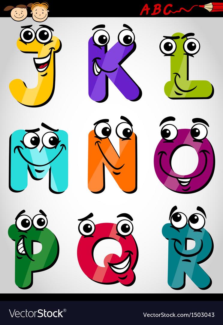 Cute letters alphabet cartoon vector | Price: 1 Credit (USD $1)