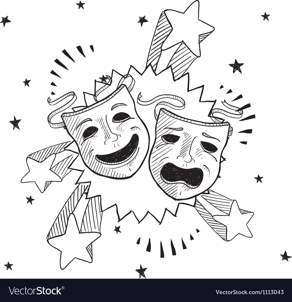 Doodle pop drama masks vector | Price: 1 Credit (USD $1)