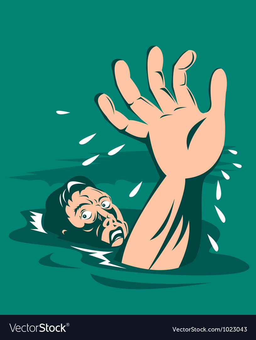 Man reaching for help drowning vector | Price: 3 Credit (USD $3)