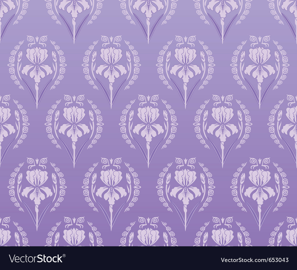 Seamless walpaper iris background vector | Price: 1 Credit (USD $1)