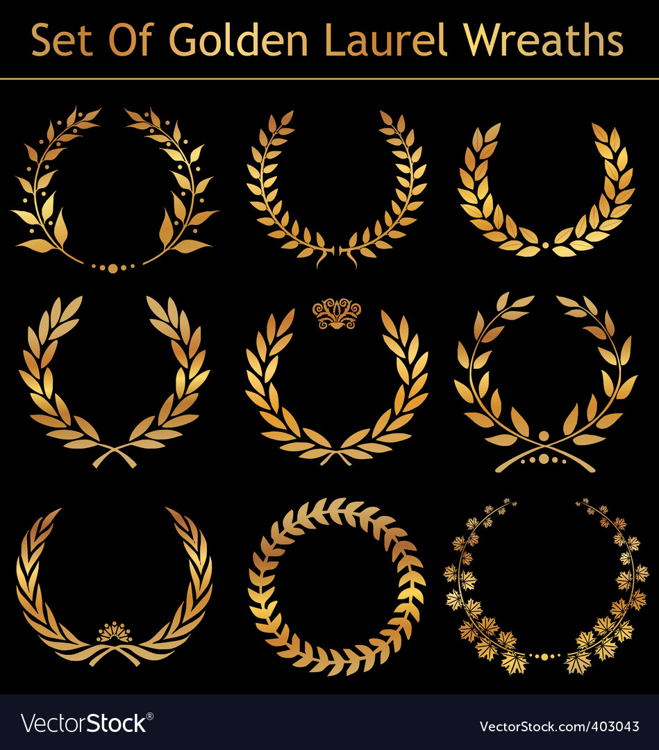 Set of golden laurel wreaths vector | Price: 1 Credit (USD $1)