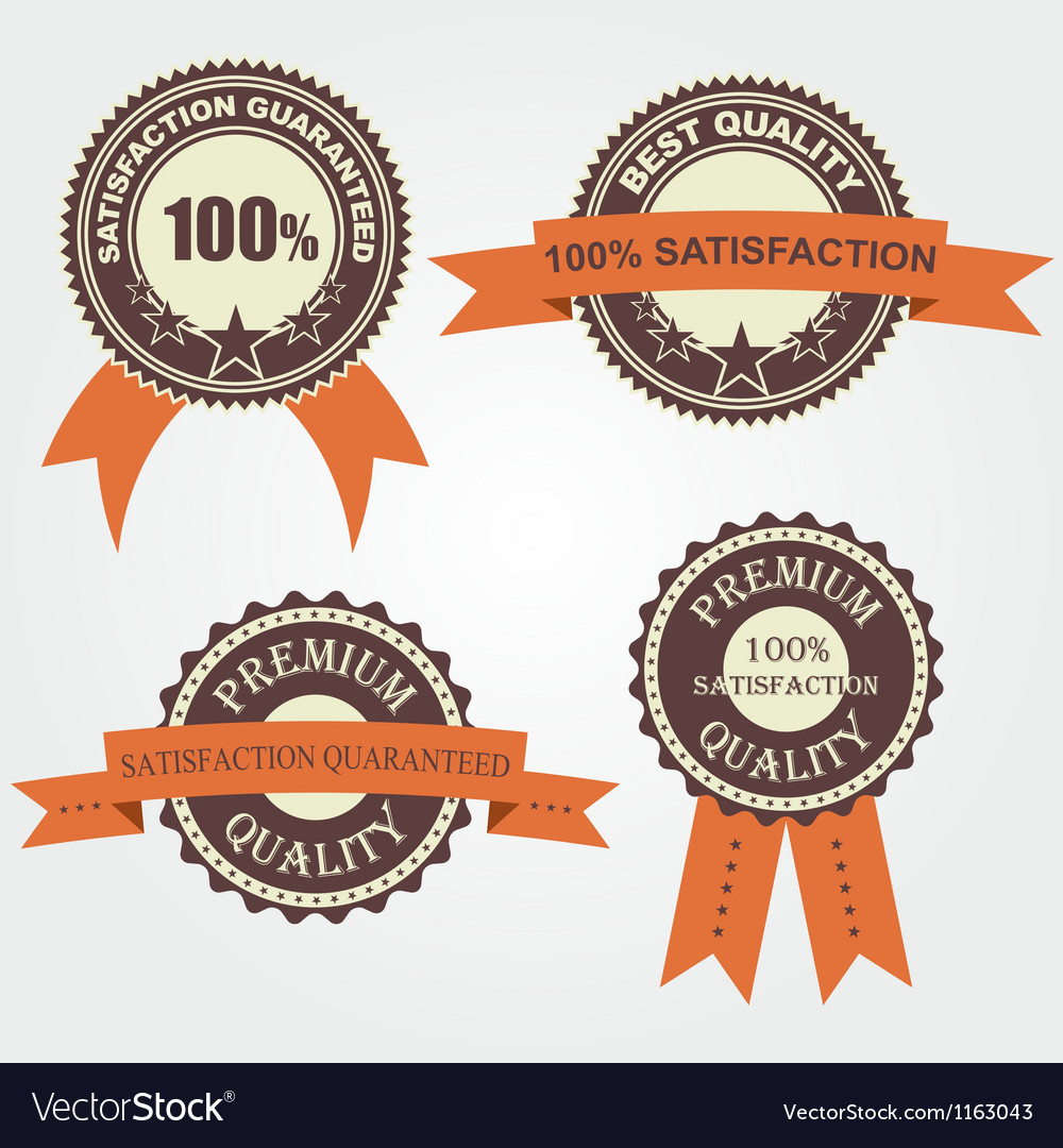 Set of quality labels with retro vintage design vector | Price: 1 Credit (USD $1)