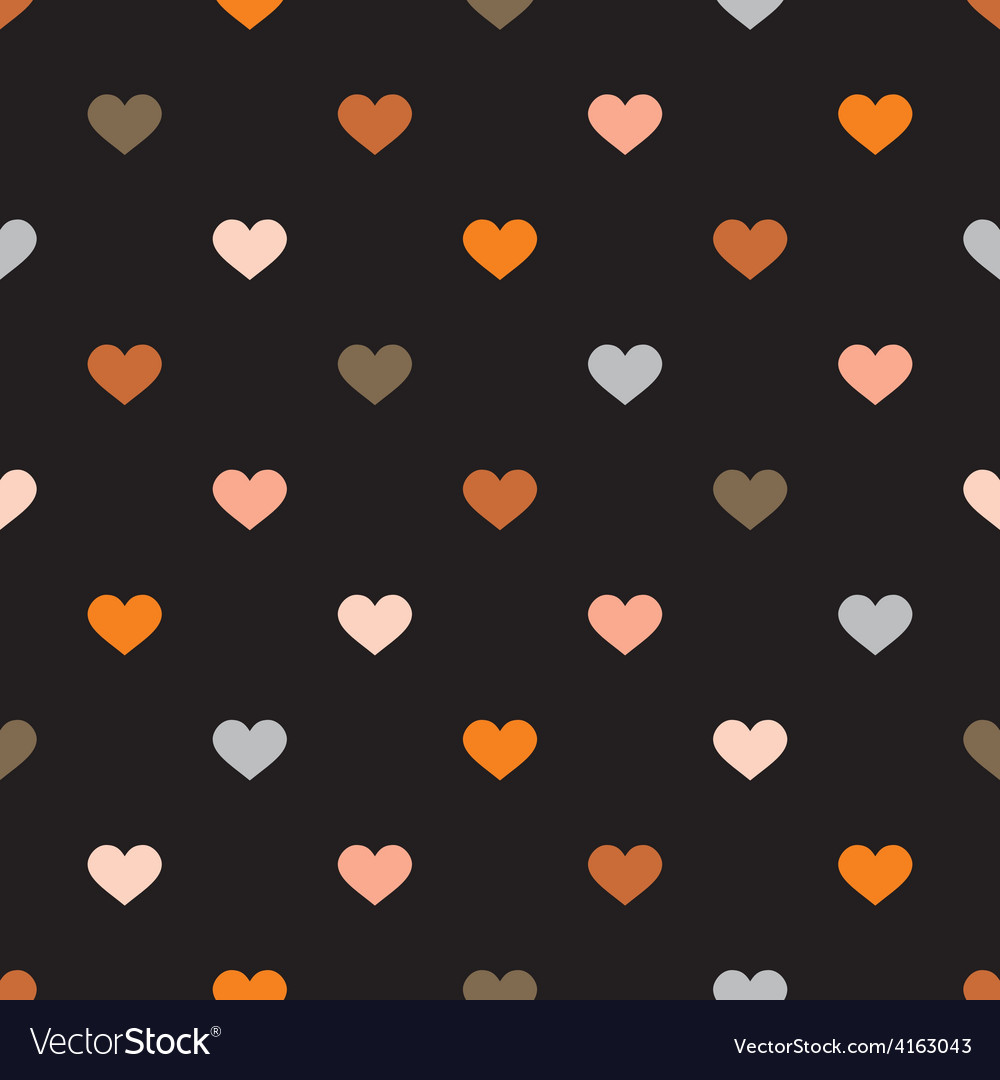 Tile pattern with hearts on black background vector | Price: 1 Credit (USD $1)