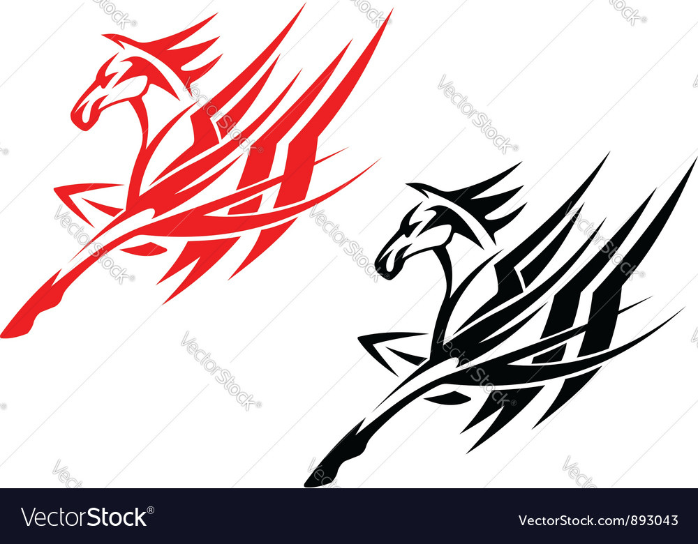 Tribal horse in black and red version vector | Price: 1 Credit (USD $1)