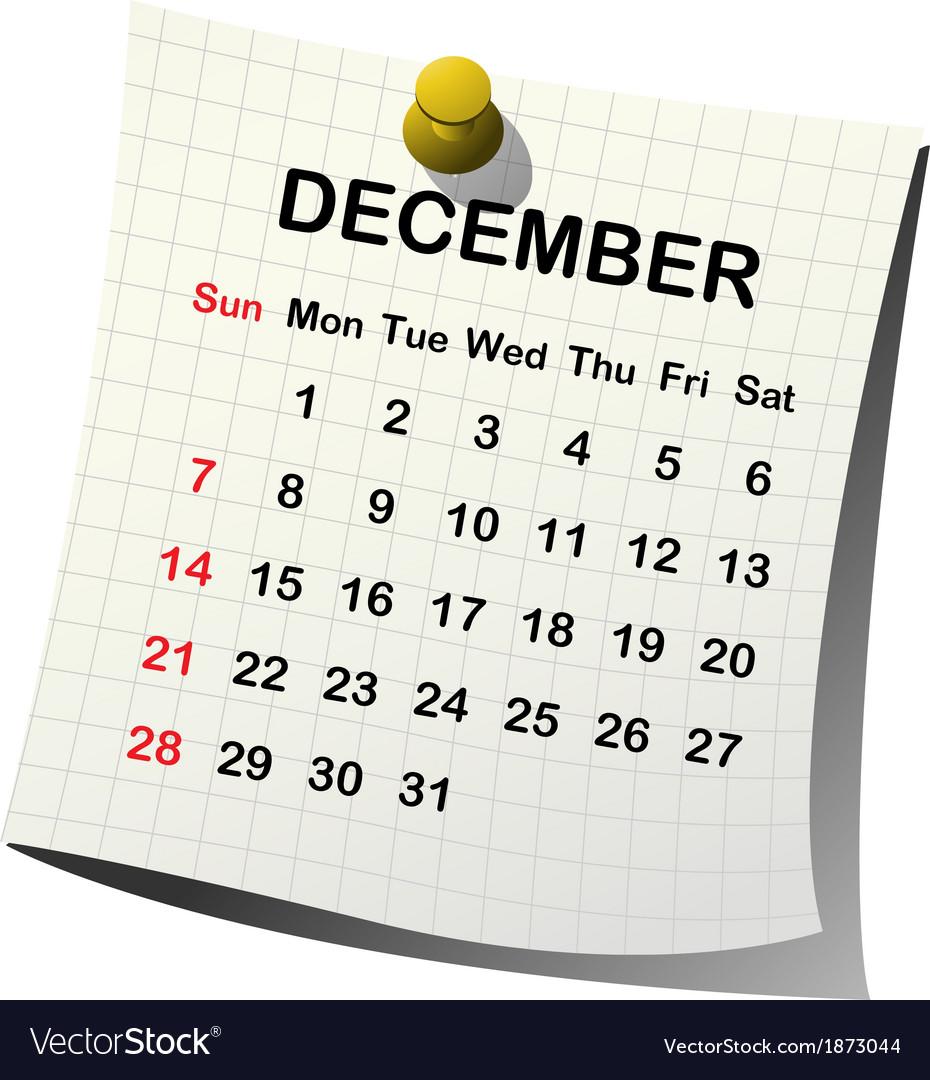2014 paper calendar for december vector | Price: 1 Credit (USD $1)