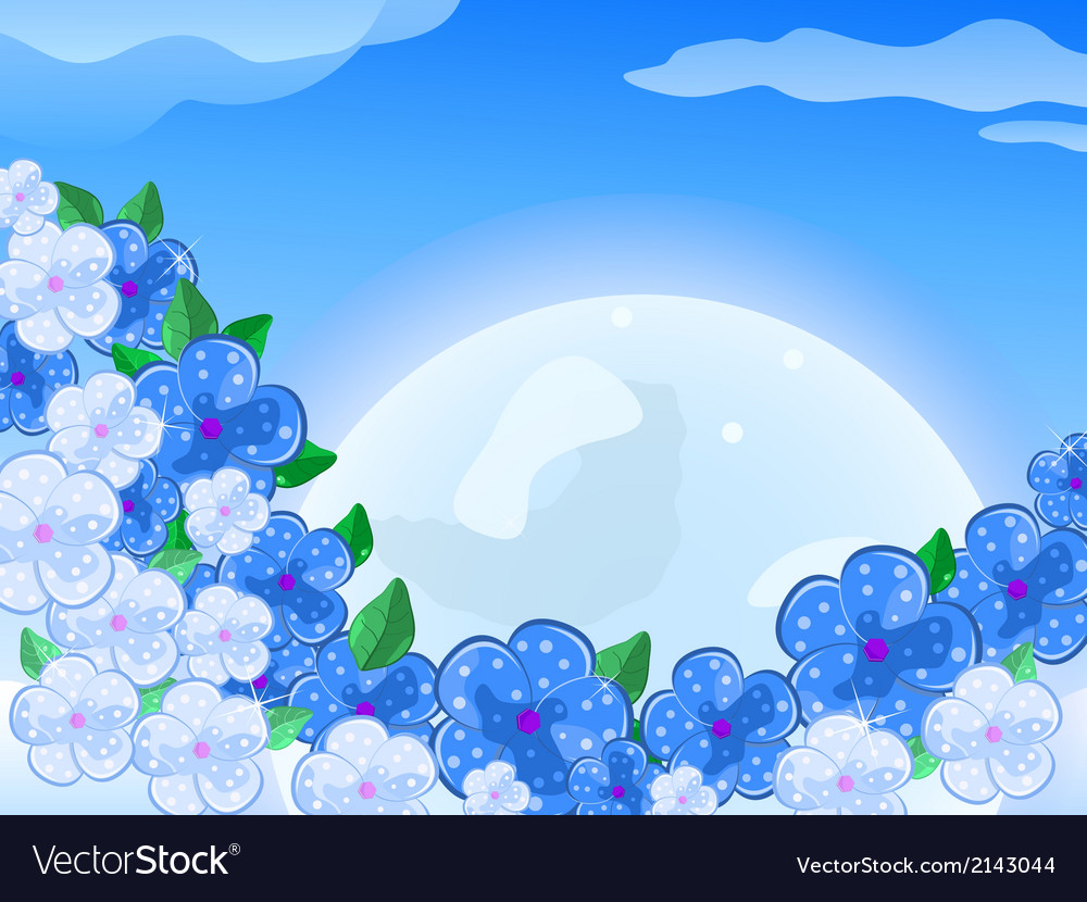Blue white flower in front of thee moon in the sky vector | Price: 1 Credit (USD $1)