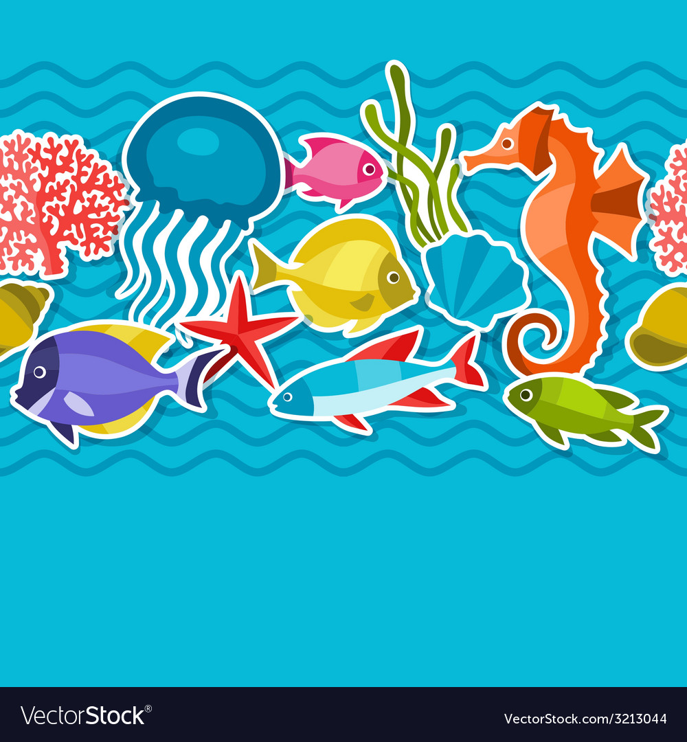 Marine life sticker seamless pattern with sea vector | Price: 1 Credit (USD $1)