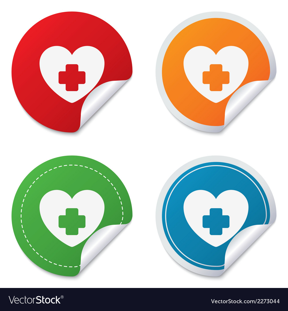 Medical heart sign icon cross symbol vector | Price: 1 Credit (USD $1)
